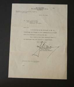 Rare WWII Letter signed Major General James Ulio 1942