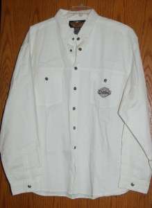 White L/S Genuine Harley Davidson Motorcycle Clothing Shirt 2 front