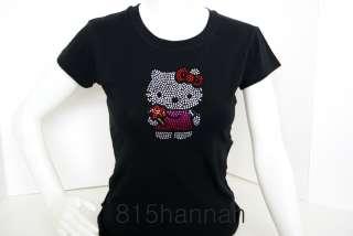 New Hello Kitty Rhinestone Women Spandex T shirt