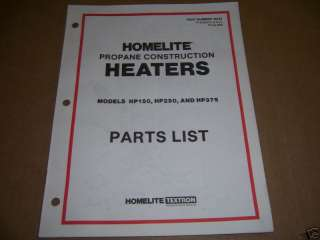 a726) Homelite Parts Bk Propane Construction Heaters