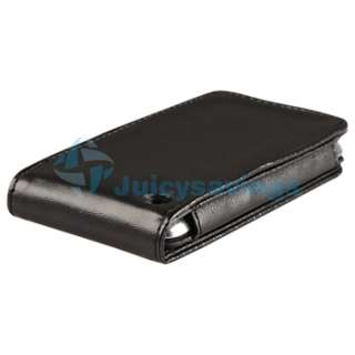 Black Leather Flip Case for Apple iPod Touch 4th Gen 4G 32GB