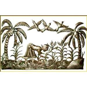 How Does Your Garden Grow   Haitian Metal Art Wall Hanging