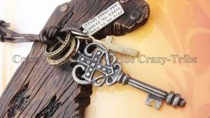 Genuine leather necklace charm choker Key / Cross pendant ancientry