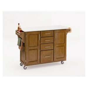 Home Styles Create a Cart Cottage Oak Cabinet with White Vinyl Top 52