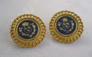 Vintage Earrings Goldtone Large Round Black Enamel Crest Design