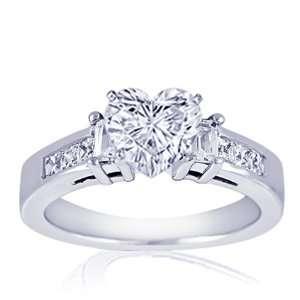 1.5 Ct Heart Shaped 3 Stone Diamond Engagement Ring 14K