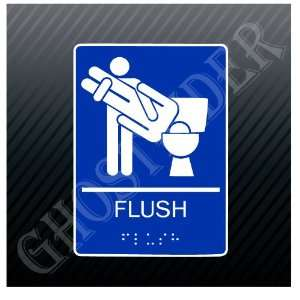 Flush Toilet Restroom Bathroom Funny Sign Sticker