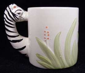 WBI Zebra Couple Collect Ceramic Figural Mug ADORABLE +