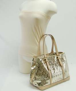 Michael Michael Kors Pale Gold Mirror Monogram Amagansett Tote Purse