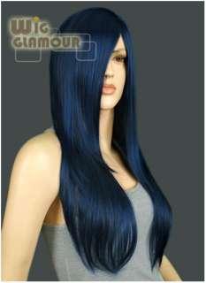 Cosplay Wig Long Dark Blue Mixed Black Hair Wigs Ll48