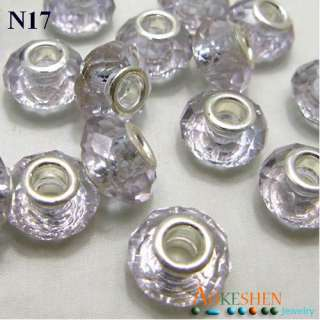 19 Colors Charm Faceted Crystal Murano Glass Beads Fit European