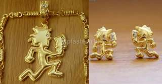 ICP HATCHET MAN GOLD TONE PENDANT 30 CHAIN & EARRING SET BLING RARE