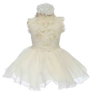 New Baby Toddler Girl National Pageant Picture Taking Ivory Dress 2 3