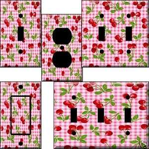 mb Gingham Cherry Light Switch Plate Cover switchplate