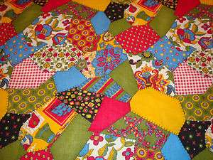 Retro FLOWER POWER Patchwork 60s 70s PSYCHEDELIC HIPPIE FUNKY Fabric