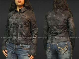 Button Up Jacket Womens LA Coat Charcoal Live Fast Premium NWT