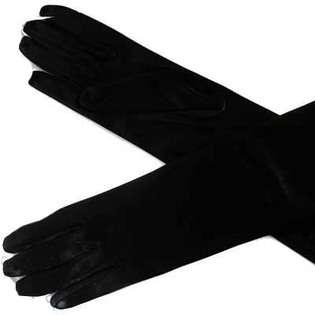 BLACK LONG SATIN 1/2 ARM ELBOW LENGTH EVENING GLOVES  Luxury Divas