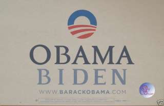 Official Obama Biden Rally Sign   Placard (White)