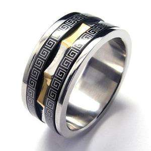 Mens Silver & Gold & Black Stainless Steel Ring Size 11