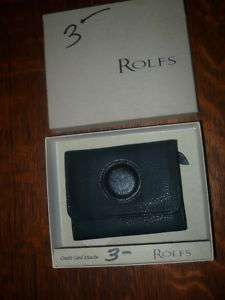 MINT ROLFS BLACK LEATHER CREDIT CARD ATTACHE WALLET