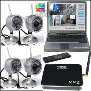 Wireless 4 Camera Kit Home Security CCTV USB DVR System