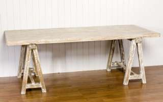 NEW WHITE WASH SOLID WOOD RUSTIC DINING TABLE SEATING 8