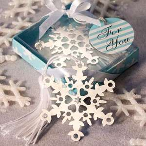 144 Snowflake Winter Wedding/Bridal Shower Bookmark Favors/Christmas
