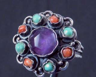 MEXICAN SILVER ALVARADO MATL STYLE AMETHYST TURQUOISE CORAL RING 15459