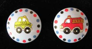 SET OF 6 CARS & TRUCKS  Hand Painted Wooden Knobs/Pulls