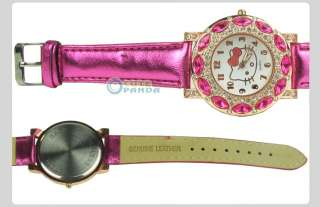 New Leather HelloKitty Cute Ladies Fashion Crystal Quartz Band Wrist