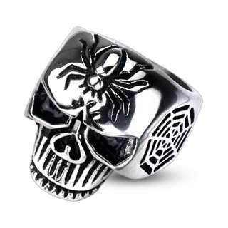 Stainless Steel Mens Skull w/ Spider & Web Biker Ring Size 9 14