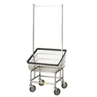Laundry Cart with Double Pole Rack   3.75 Bushel Capacity   Chrome