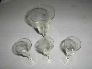 ETCHED FLUTE LIQUOR CRYSTAL GLASS WINE WATER GLASSES set of 4