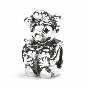 Moress A Small Jester Gesture Clown Charm, Solid Sterling Silver Bead
