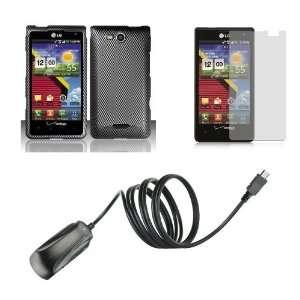 (Verizon) Premium Combo Pack   Carbon Fiber Design Hard Case + ATOM