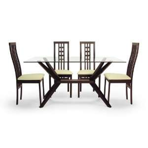 Magna 5 Piece Dining Set with Cabrina Chairs (Coffee) Home & Kitchen