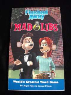DREAMWORKS FLUSHED AWAY MOVIE MAD LIBS WORD ACTIVITY PARTY GAME BOOK