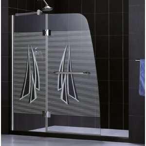 Hinge Shower Door Aqua DLSHDR304858604 DS. 48x58, Sail Print Glass