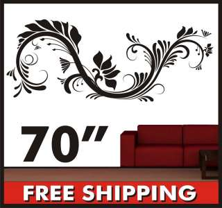 Vinyl Wall Sticker Flower Floral Swirl Decal Large