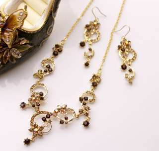 Wedding Bridal 14K GP NECKLACE EARRING SET WBS015G