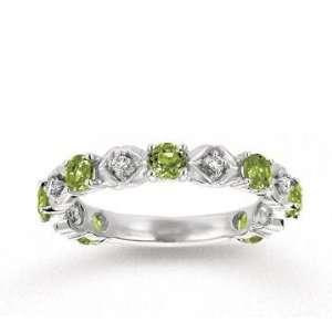 14k White Gold Prong Peridot Diamond Stackable Ring Jewelry