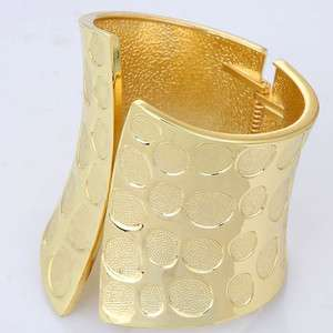 fashion design wide yellow gold plated chunky stretchy cuff bracelet