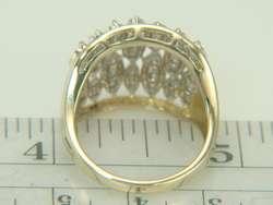 14K Yellow & White Gold Wide Band .78ct Diamond Ring