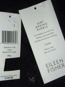 EILEEN FISHER gray charcoal AIRY MERINO BUBBLE DRAPE FRONT CARDIGAN $