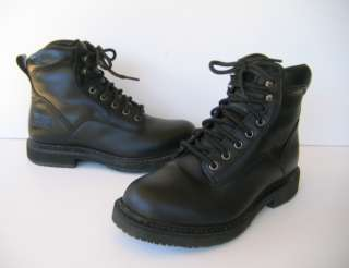 Worx Mens Black Leather Steel Toe Work Boots 6.5 M   Womens 8.5 #6235