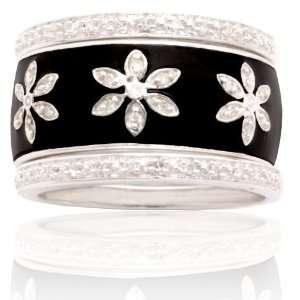 10k White Gold Black Enamel Flower Design Diamond Stack