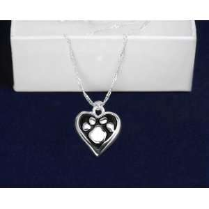Animal Cause Necklace   Paw Print Heart (18 Necklaces