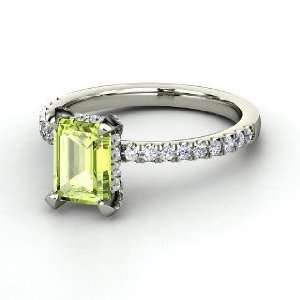 Reese Ring, Emerald Cut Peridot 14K White Gold Ring with