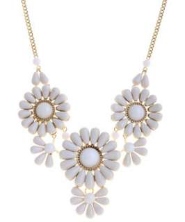 Cream (Cream) Beaded Flower Collar Necklace  249573813  New Look