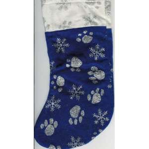 Christmas Stocking with Paw Prints and Snowflakes